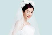 鼠绘漂亮的身着白色婚纱的新娘