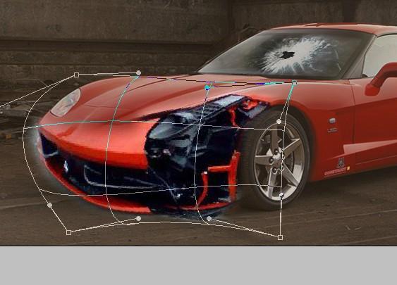 如何用PS把一輛漂亮的跑車處理成報廢的破車