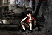 PS合成静坐在废墟的小男孩