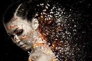 PS给美女加上超酷的火焰碎片