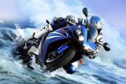 PS快速合成水中高速行驶的摩托