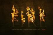 使用火焰素材制作逼真燃烧字