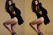 Photoshop给美女模特瘦腿