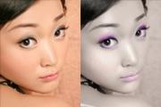 PS调出人物的淡紫彩妆效果